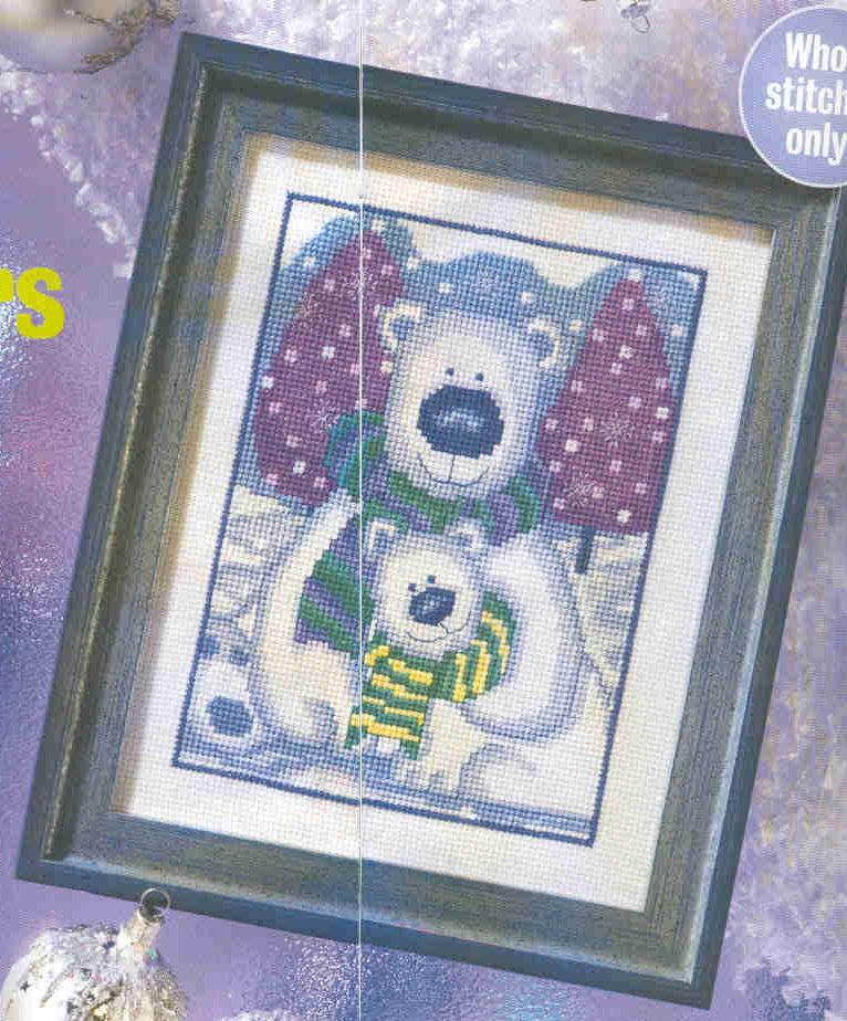 Белые медведи: схема вышивки