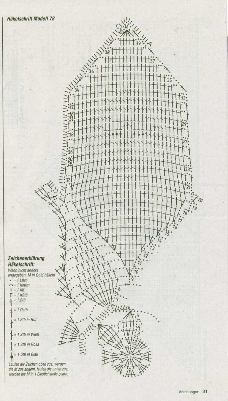 схема вязания крючком деда мороза салфетка