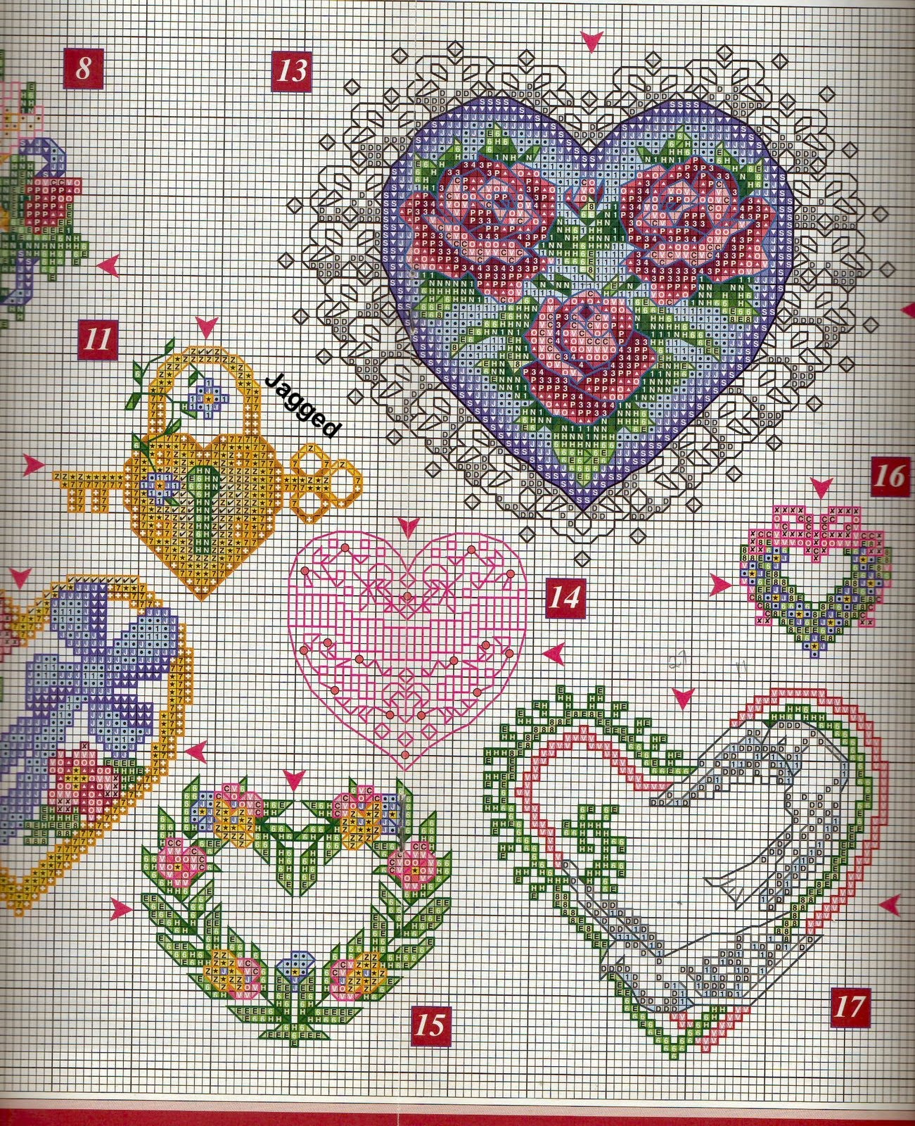 схема сердечка крестиком