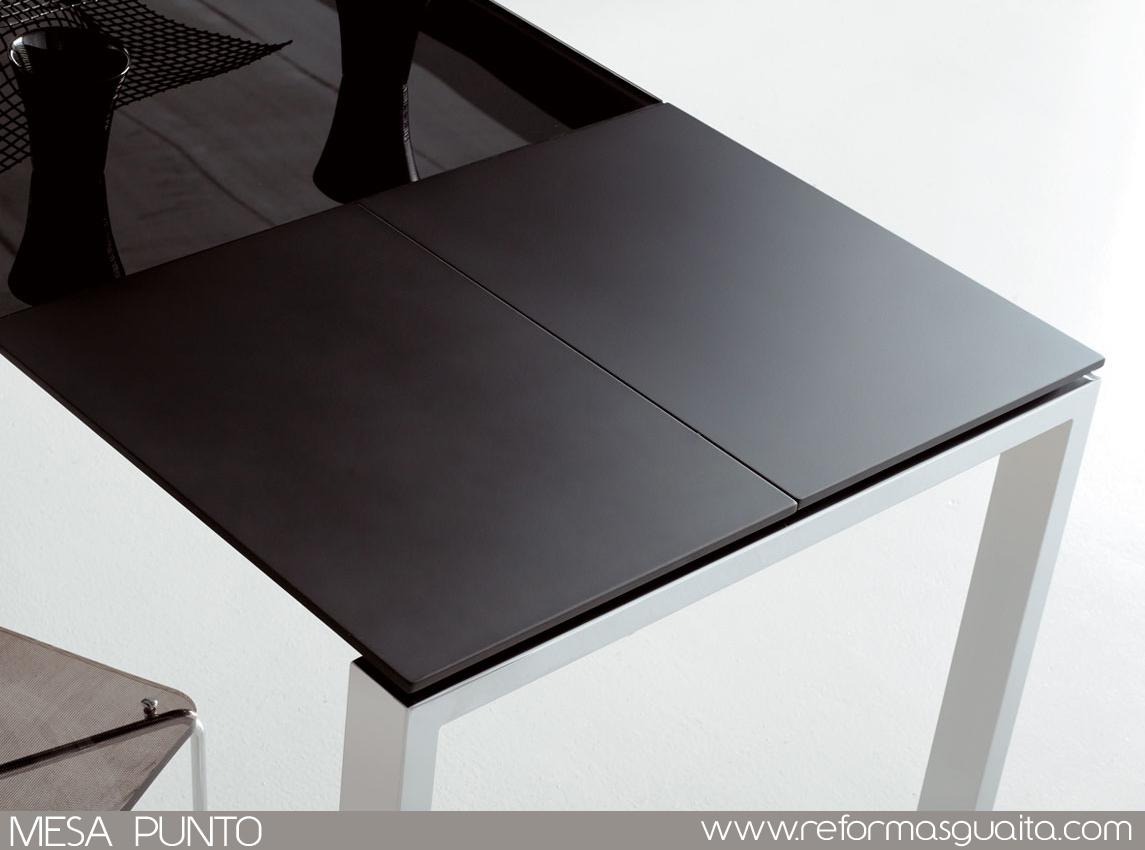 Mesa de cocina extensible 110x70 a 170x70 aluminio cristal for Mesa de cristal extensible