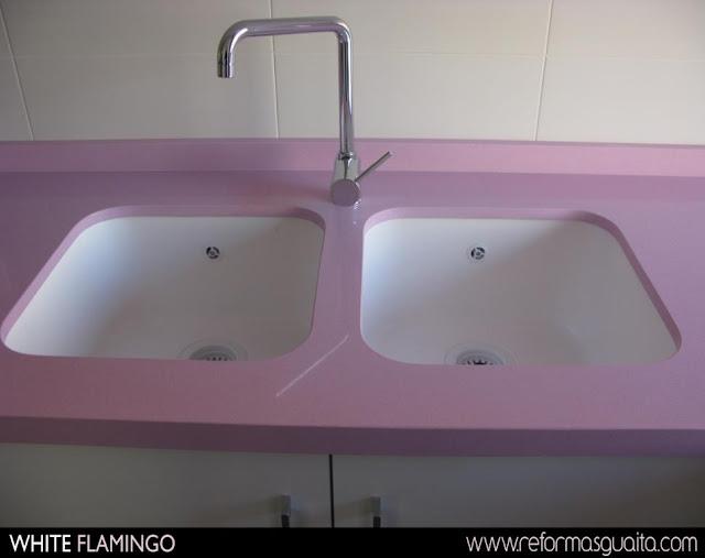 mueble cocina rosa