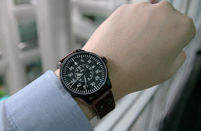 Laco Black Pilot watch wrist Shot