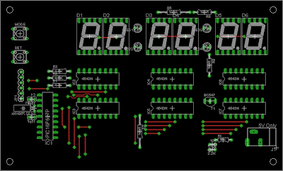 Component placement on the PCB of 7-Segment PIC Digital Clock
