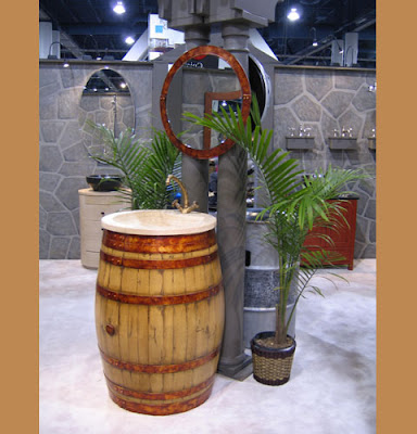 sink/lavatory made from recycled wine barrel from Bristol and Bath
