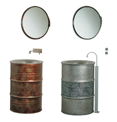 sink/lavatory made from recycled metal barrels from Bristol and Bath