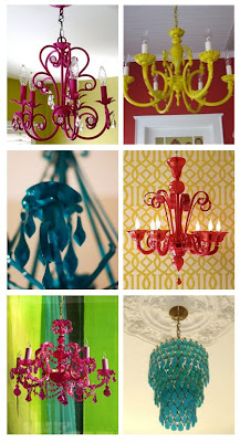 I don't know if I can pick a favorite colorful chandelier from this group of six.