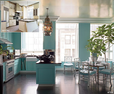 large kitchen with aqua blue painted cabinets, photo from Architectural Digest