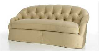 Versailles sofa from Cameron Collection, curved back sofa with diamond tufting and pleated skirt