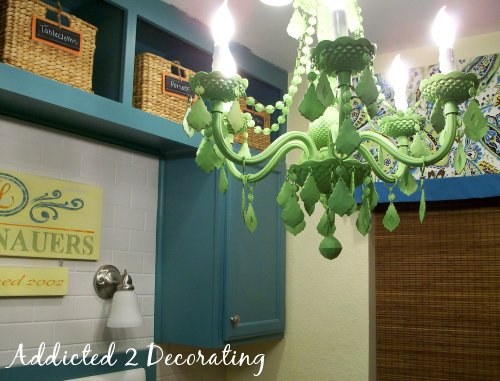 apple green painted chandelier, plastic chandelier