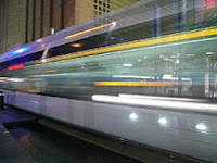 Metro Train speeds through Midtown Houston
