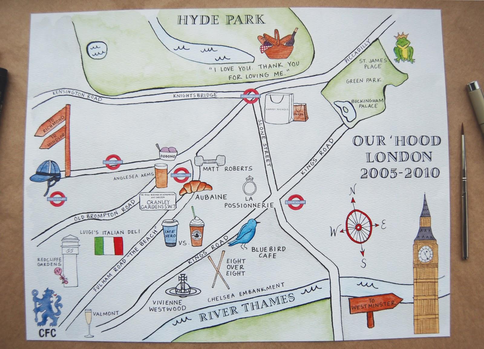 Custom Map: London, England – Swiss Cottage Designs