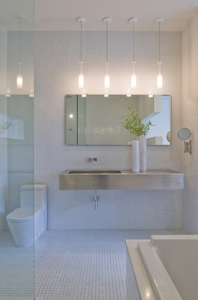 Unique Looking For Ideas On How To Refresh Or Remodel Your Bathroom  The High Ceilings In This Bathroom Are Balanced With Pendant Light Fixtures 8337 That Hang