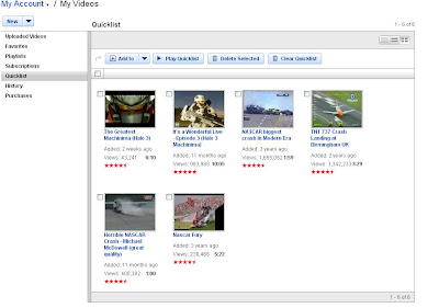 YouTube quicklist screenshot