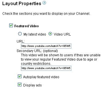YouTube layout properties