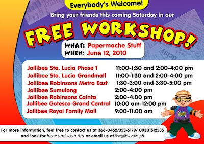 Free Jollibee Workshops for Kids on June 12