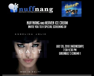 Nuffnang and HEAVEN Ice Cream invite you to a special screening of 'SALT'