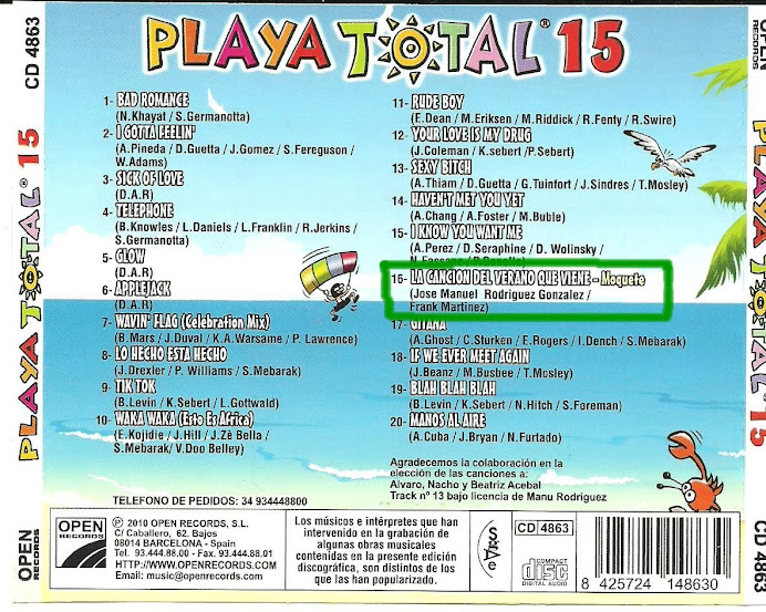 "Moquete en el disco ""PLAYA TOTAL 15"""