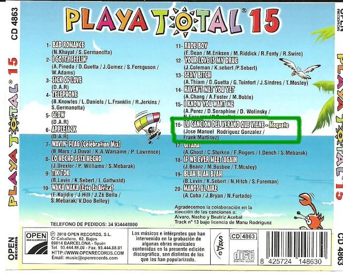 """Moquete en el disco """"PLAYA TOTAL 15"""""""