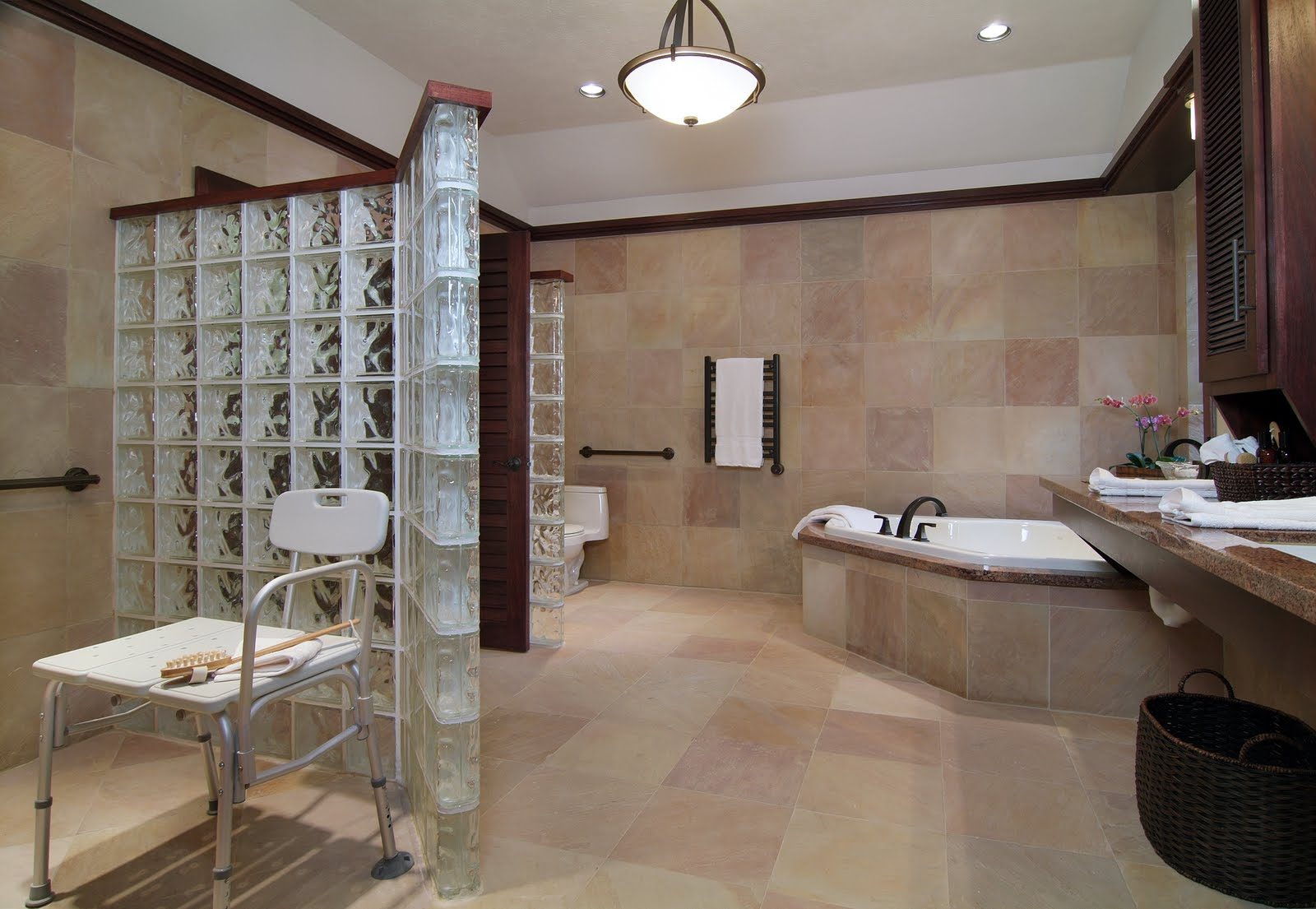 bathroom remodel designed for a wheelchair user