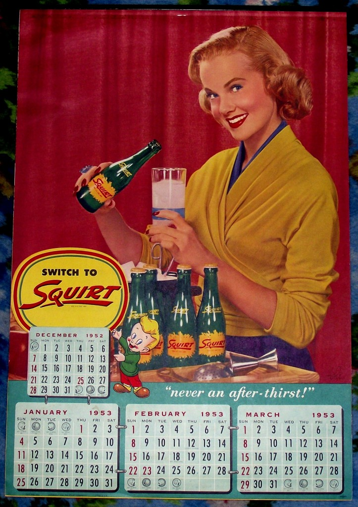 Genital Triangle Calendar. SQUIRT Soda (1953 calendar)