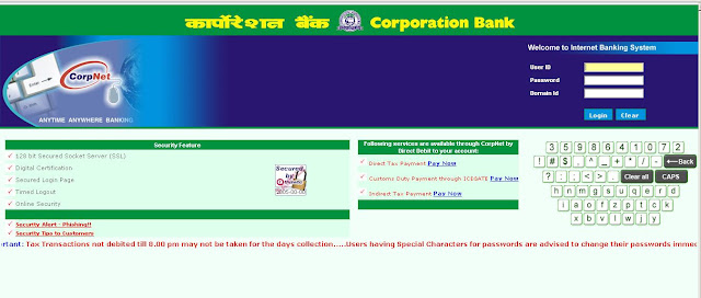 Www.CorpBank.com : Login for Corporation Bank Net Banking - Internet Banking