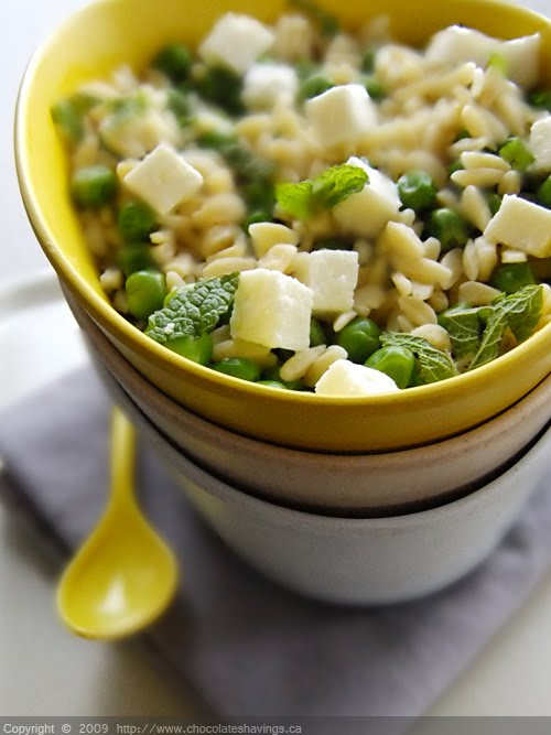 Chocolate Shavings: Pea, Mint and Feta Orzo