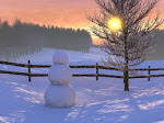 Snowman at Sunset
