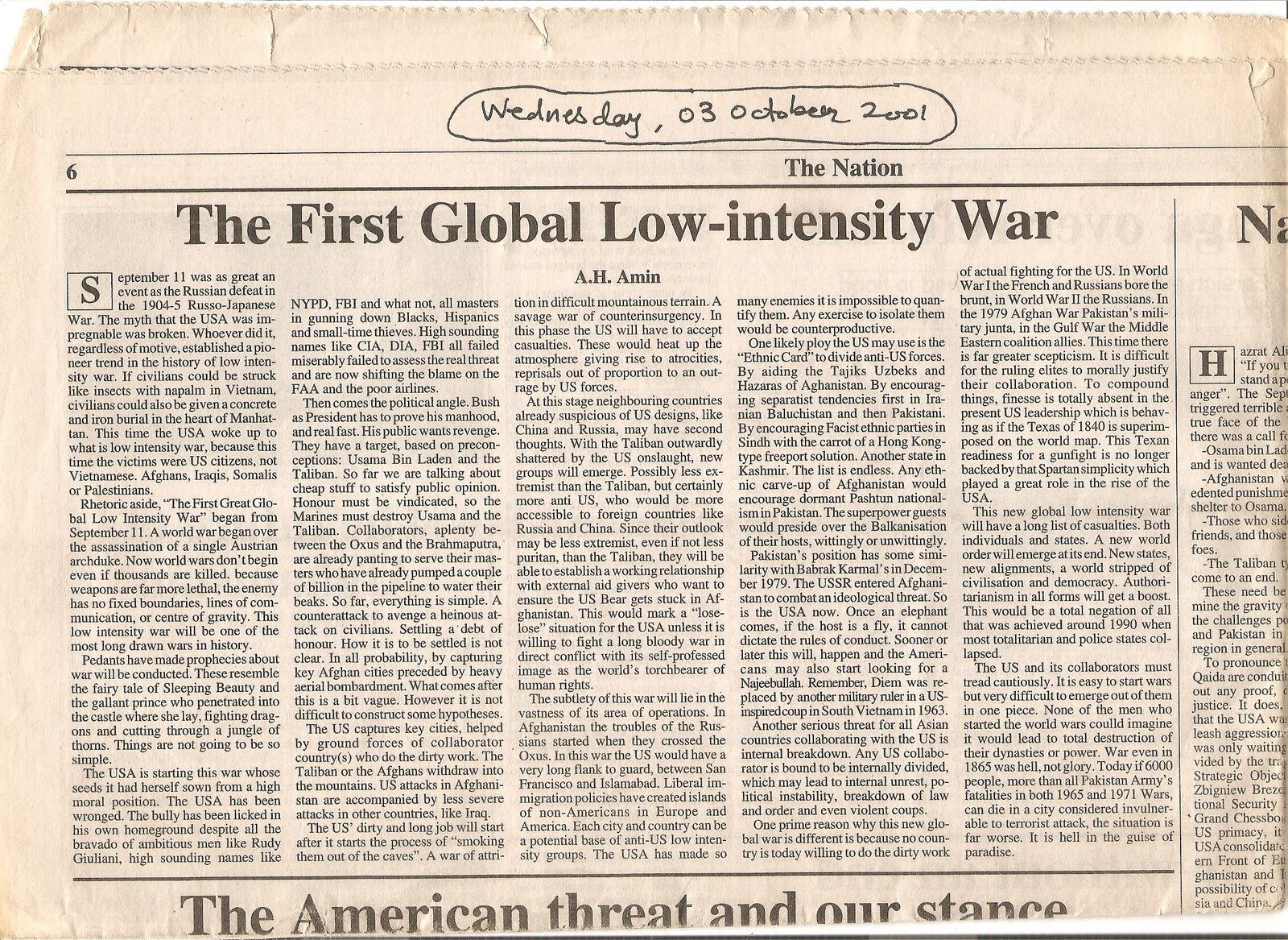 A STRATEGIC ASSESSMENT OF FUTURE WAR MADE 15 DAYS AFTER 9-11-CLICK ON PICTURE  BELOW  TO READ