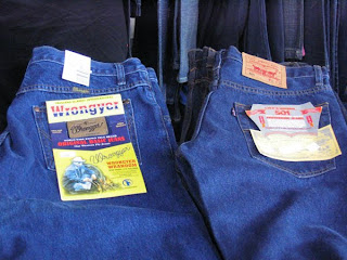 mass-produced blue jeans