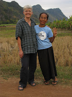 Loei province, Thailand: Alleson and Pii Yai, a rural development worker who works with women's weaving groups