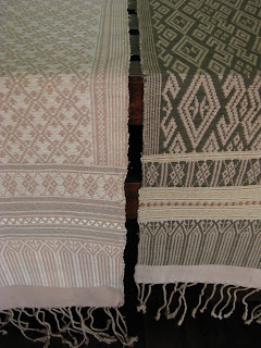 handwoven, naturally dyed table runners woven in khit style