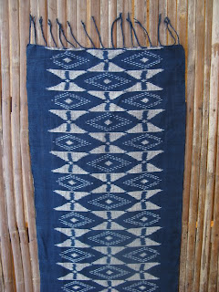 handwoven cotton indigo mudmee scarf from Thailand