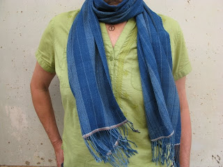 handwoven, cotton scarf dyed with natural indigo