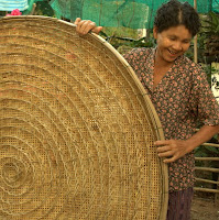 Handwoven bamboo basket used for raising silkworms