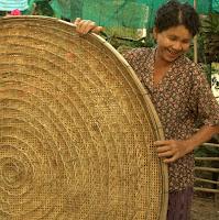 Handwoven bamboo basket used for raising silkworms