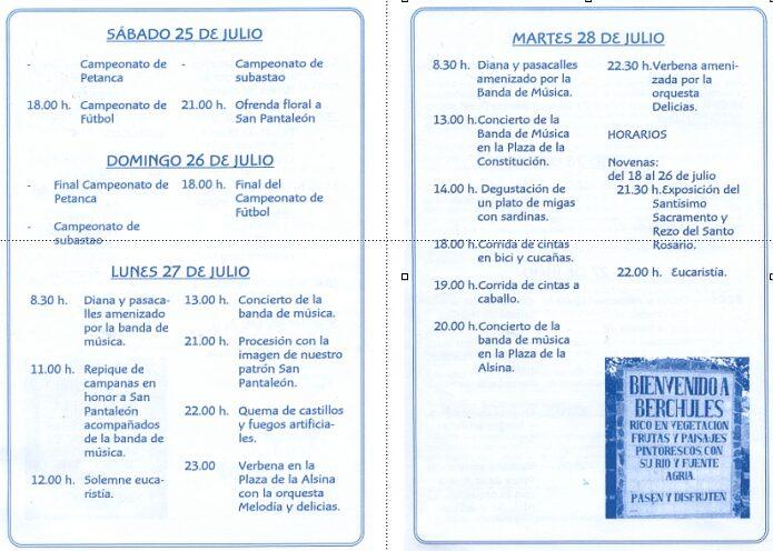 Programa San Pantaleón Bérchules 2009
