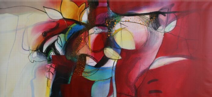 ´Azul y rojo´ a painting of Pieter Vermeulen (acryl/linen, 150x70, 2008)