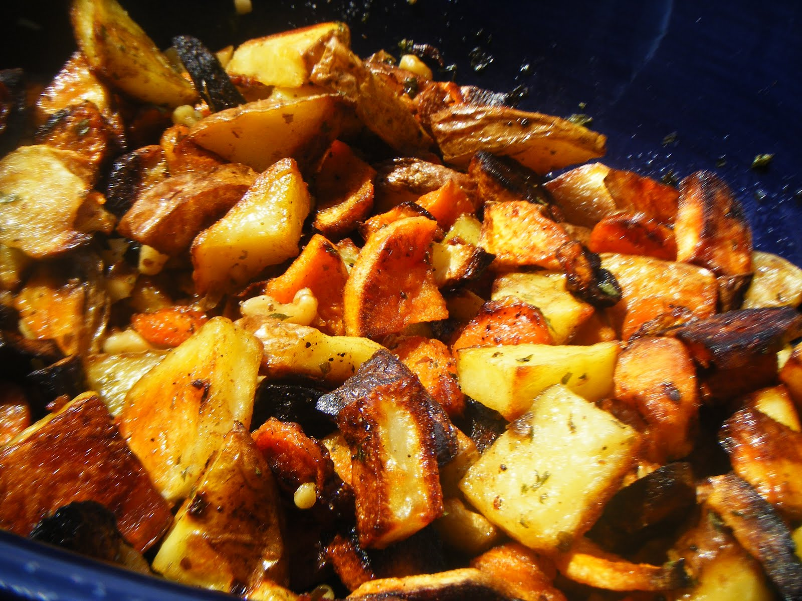 Garlic Escapes: Oven-Roasted Root Vegetables and Garlic