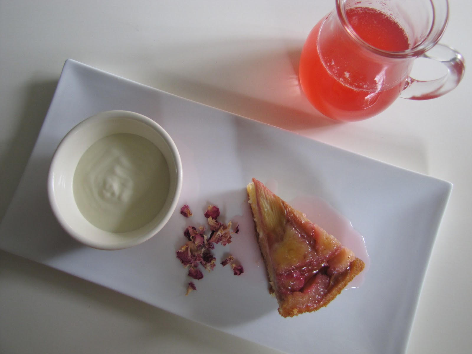 rhubarb & rosewater upside down cake