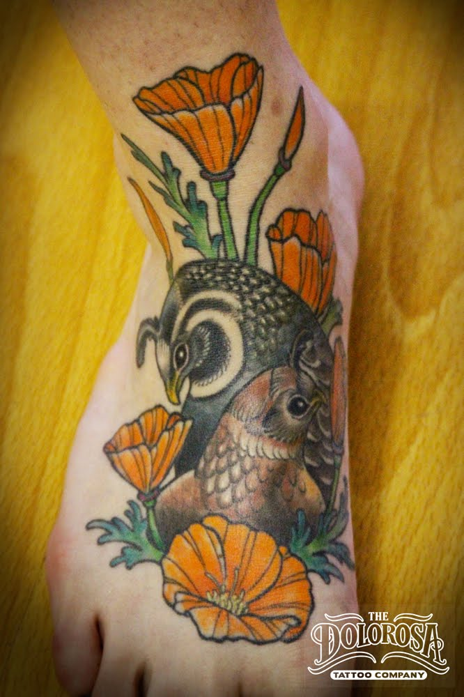 Loved doing these quails and poppies they made for a great tattoo.