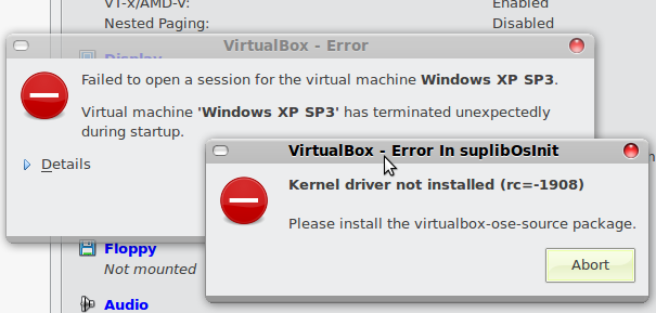stopping virtualbox kernel modules failed 3