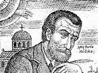 Χαρακτικό Φωτη Κόντογλου:Αλέξανδρος Παπαδιαμάντης, δεξιός ψάλτης