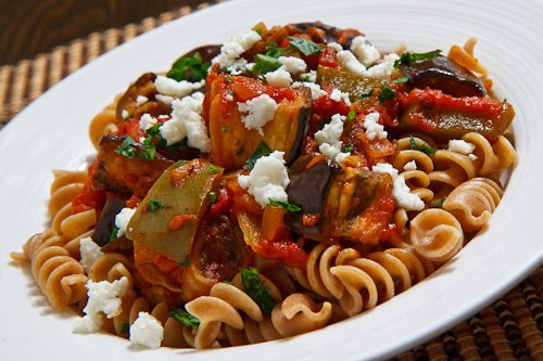 Kitchen Diaries Challenge 2013: Roasted Aubergine and Tomato Pasta