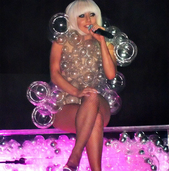 Lady Gaga in her plastic bubble dress