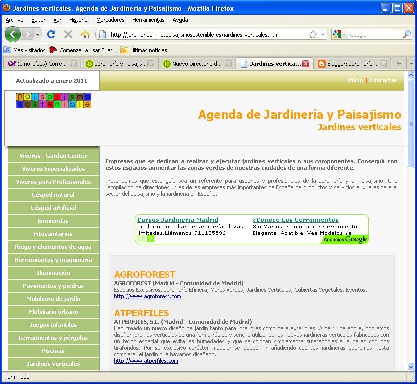 Actualizaci n del directorio de empresas de jardiner a y for Empresas de paisajismo