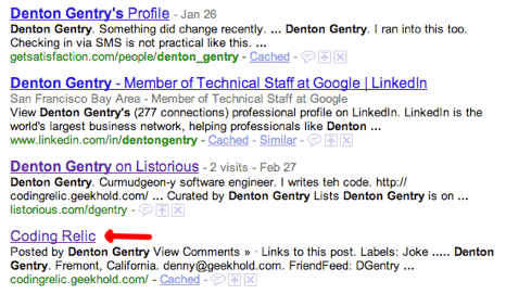 Google Search results getsatisfaction.com #1, linkedin #2, listorious #3