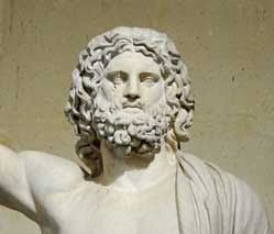 Closeup of face from statue of Zeus
