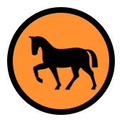 Badge with a silhouette of a horse