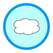 Badge with a fluffy white cloud