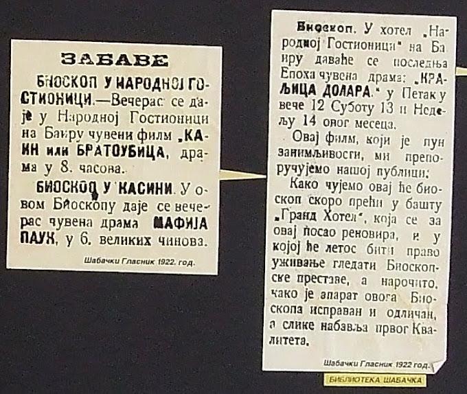 Repertoar filmova u ,,SLOZI,, i ,,KASINI,, 1922.